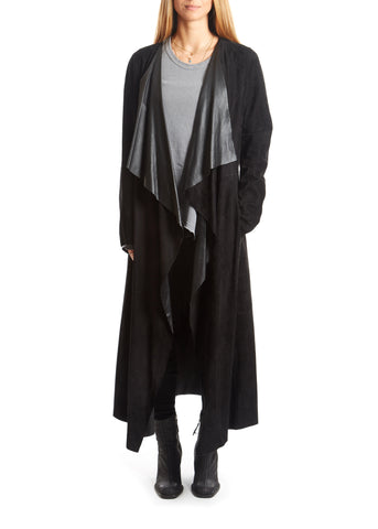 Jessimara Black Suede Long Waterfall Coat