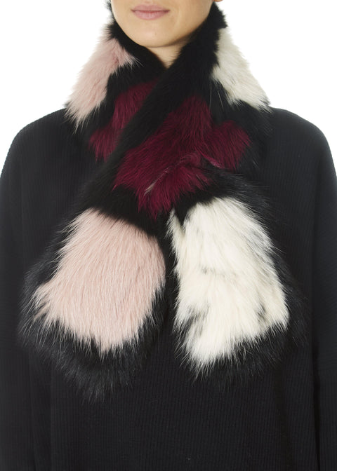 Pink And Black Colour Block Fox Scarf | Jessimara London