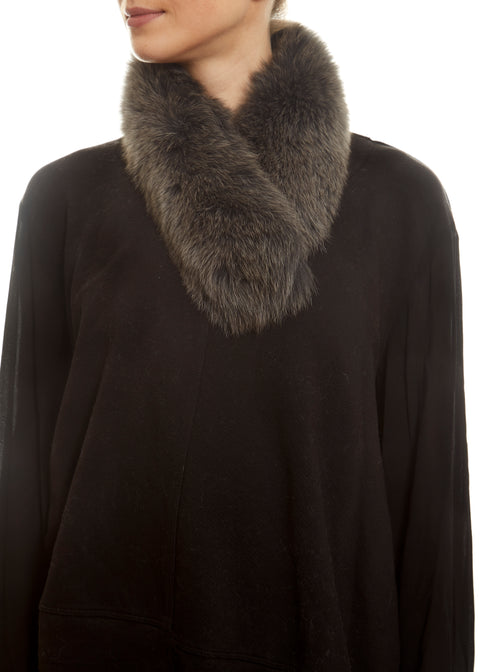 Dark Grey Fox Fur Collar Jessimara Fur - Jessimara