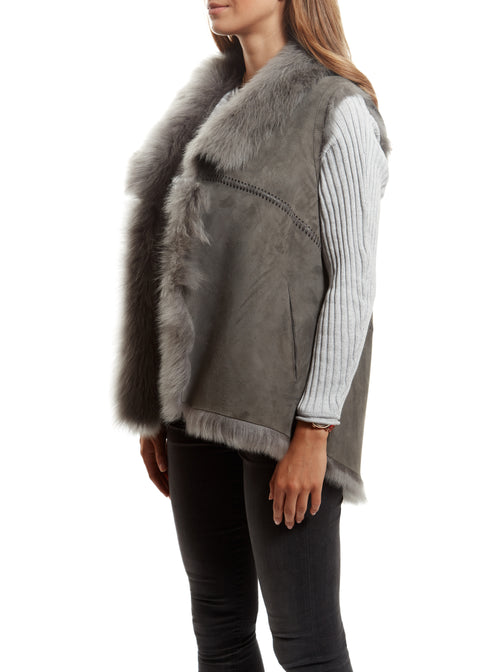 Jessimara Light Grey Sheepskin Reversible Gilet Jessimara Fur - Jessimara