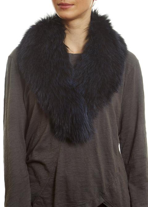 Navy Blue Genuine Fox Fur Collar