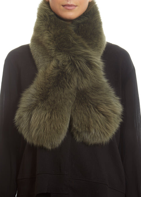 Green Genuine Fox Fur Collar