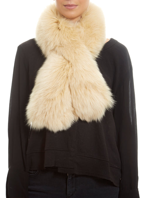 Cream Genuine Fox Fur Collar