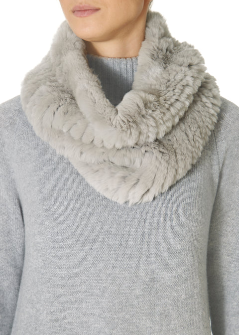 Light Grey Knitted Rabbit Single Snood Scarf | Jessimara London
