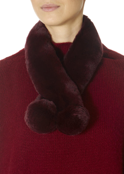 Burgundy Magnetic Rex Rabbit Double Bobble Scarf | Jessimara London