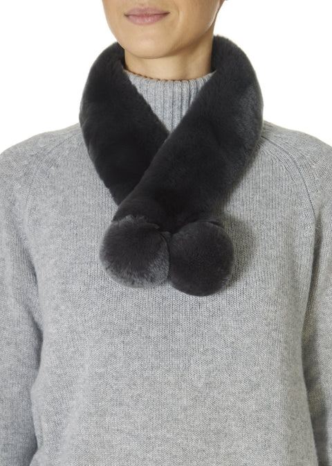 Grey Magnetic Rex Rabbit Double Bobble Scarf | Jessimara London