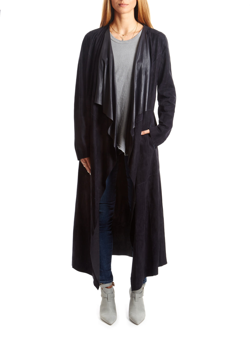 Navy Suede Long Coat - Jessimara