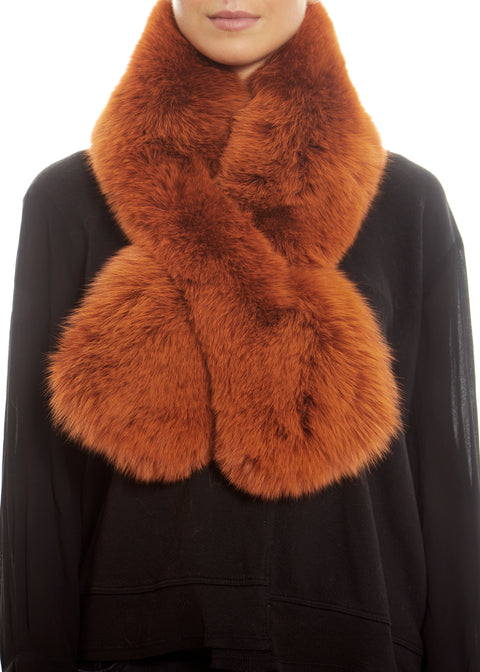 Orange Genuine Fox Fur Collar