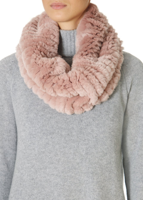 Pink Knitted Rabbit Single Snood Scarf | Jessimara London