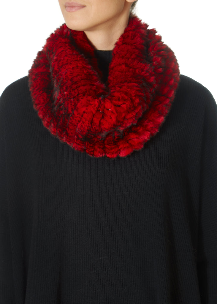 Red Snowtop Knitted Rabbit Single Snood Scarf | Jessimara London