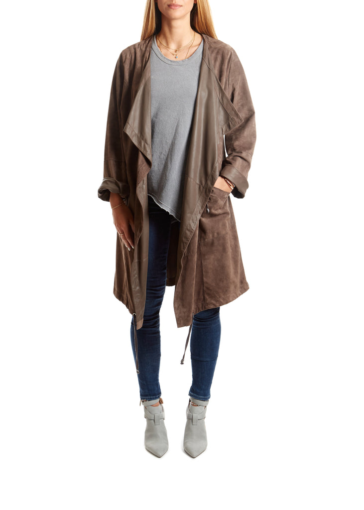 Taupe Suede Relaxed Coat - Jessimara