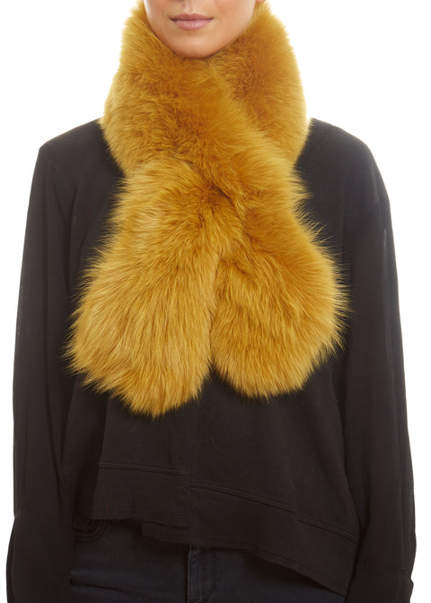 Yellow Genuine Fox Fur Collar