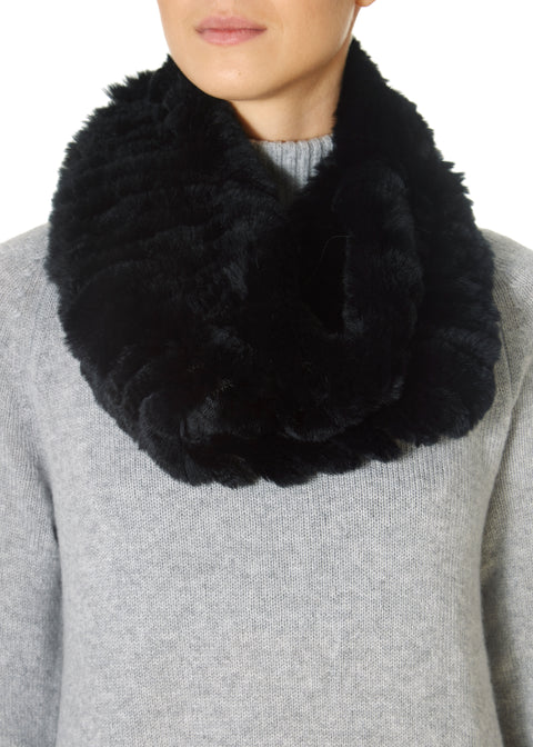 Black Knitted Rex Rabbit Single Snood | Jessimara London