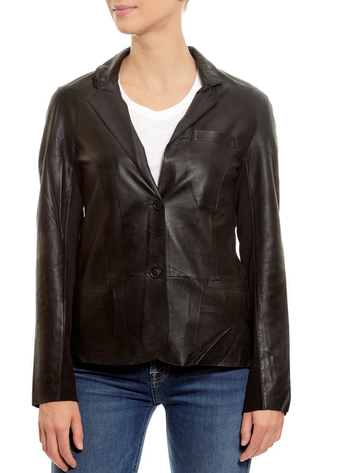 Black 'Allison' Blazer Leather Jacket | Jessimara London