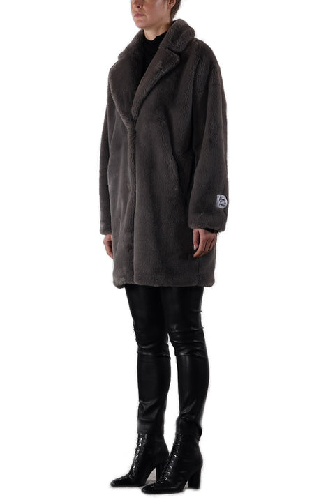 'Joela' Deep Grey Faux Fur Coat