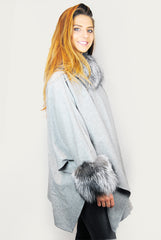 Jessimara Grey Wool & Silver Fox Poncho