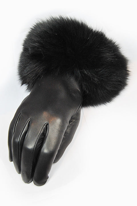 Santacana Black leather Gloves with Fox Fur Trim | Jessimara London