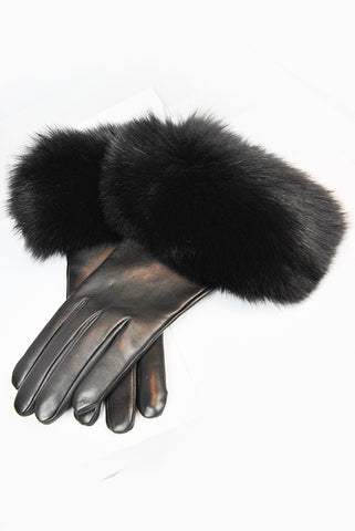 Santacana Black leather Gloves with Fox Fur Trim
