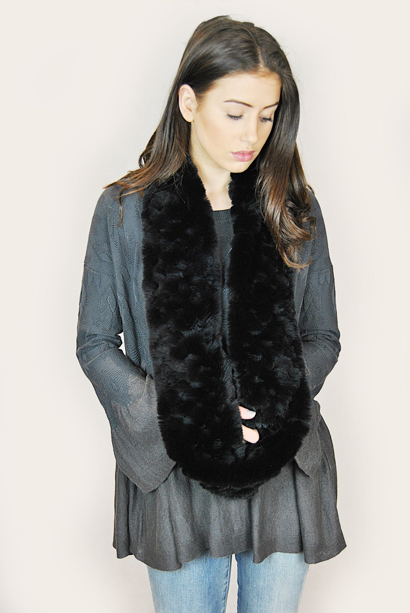 Jessimara Black Rex Rabbit Snood