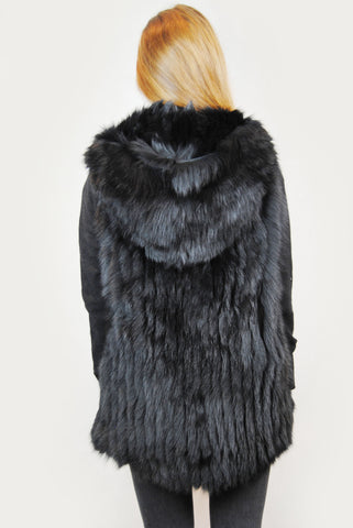 Jessimara Black Hooded Fox Fur Gilet