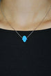 JESSIMARA SILVER NECKLACE WITH BLUE OPAL HAMSA Jessimara - Jessimara