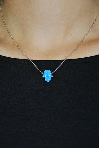 JESSIMARA SILVER NECKLACE WITH BLUE OPAL HAMSA