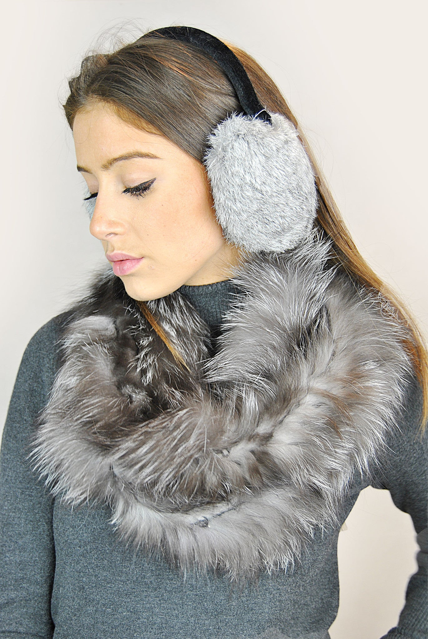 Jessimara Grey Rabbit Ear Muffs