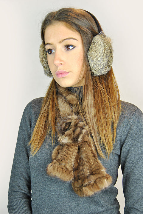 Jessimara Natural Bornw Rabbit Ear Muffs | Jessimara London
