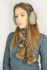 Jessimara Natural Bornw Rabbit Ear Muffs