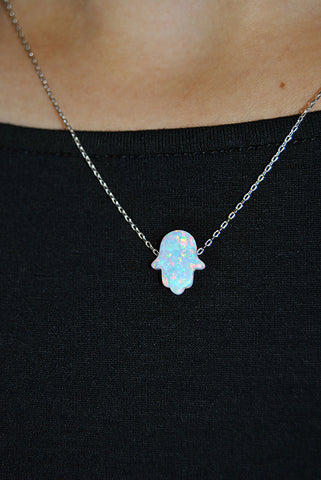 Jessimara Silver Necklace With White Opal Hamsa