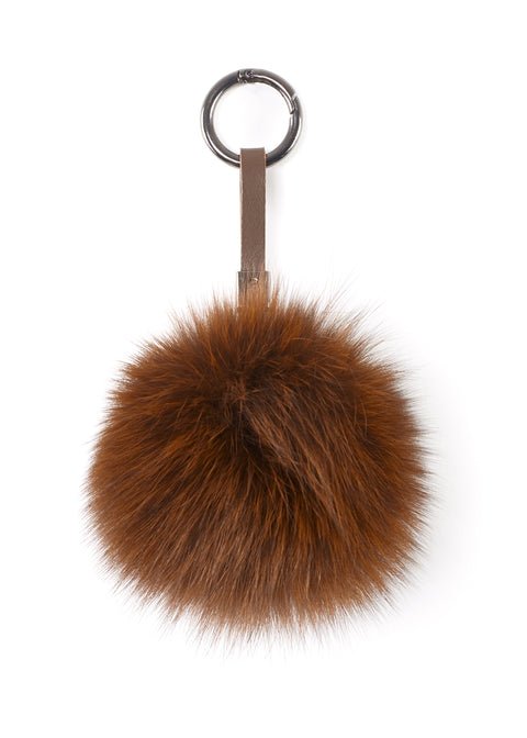 Brown Fox Fur Pom Keychain | Jessimara London
