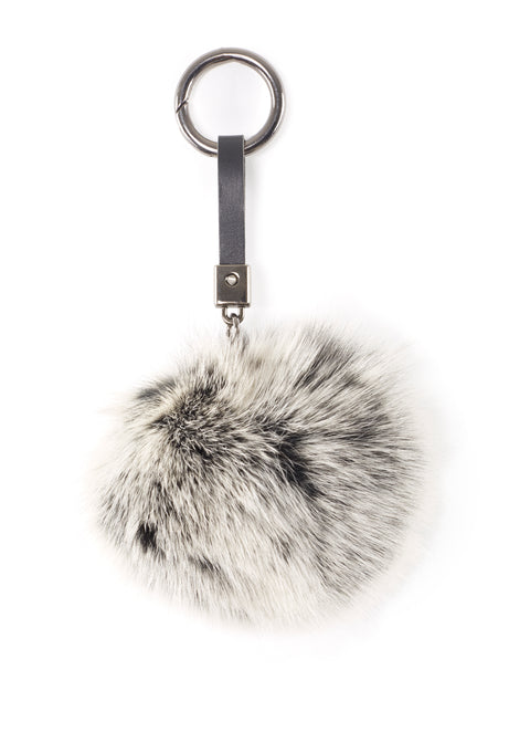 Black Snowtop Fox Fur Pom Keychain | Jessimara London