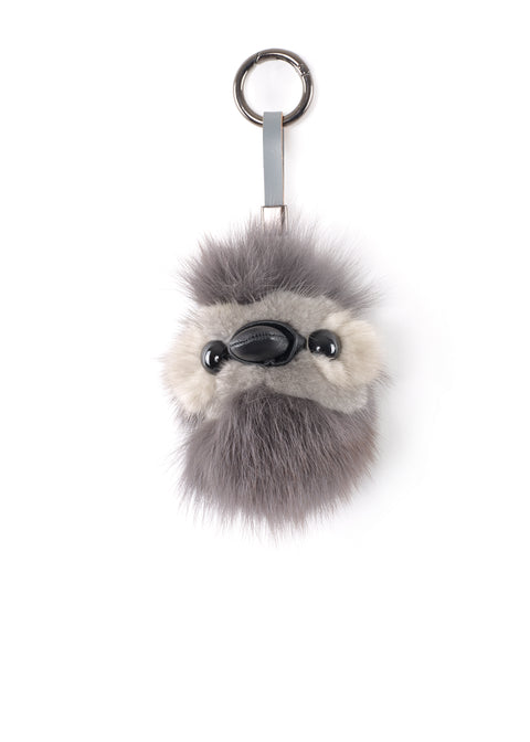 Penguin Dark Grey Mink Fur Pom Keychain | Jessimara London