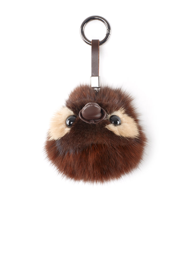 Penguin Brown Mink Fur Pom Keychain | Jessimara London