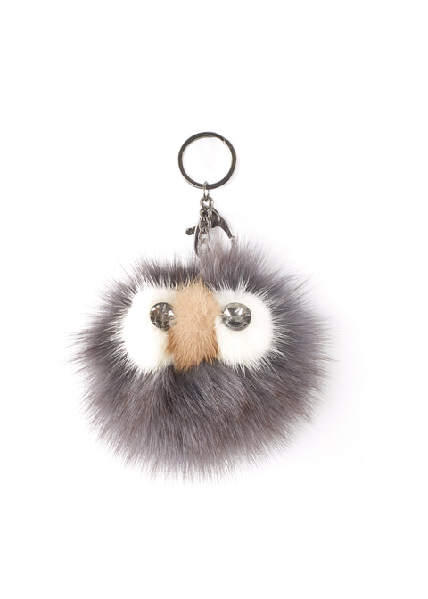 'Owl' Dark Grey Mink Fur Pom Keychain | Jessimara London