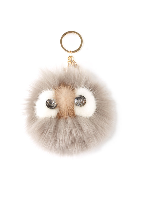 'Owl' Light Grey Mink Fur Pom Keychain | Jessimara London