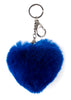 Bright Blue Heart Rabbit Fur Keychain | Jessimara London