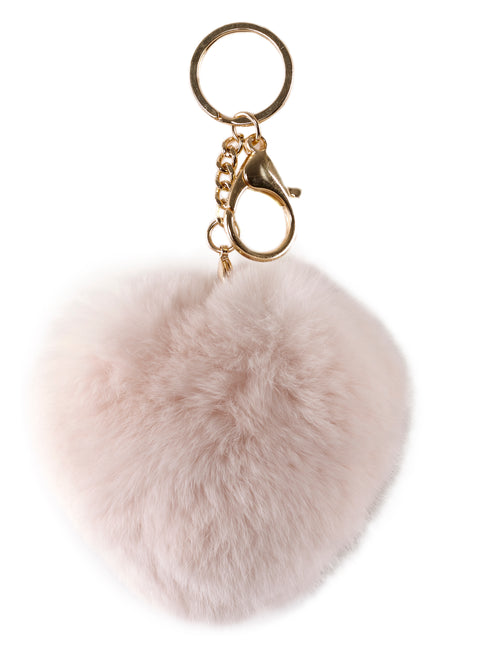 Baby Pink Heart Rabbit Fur Keychain | Jessimara London