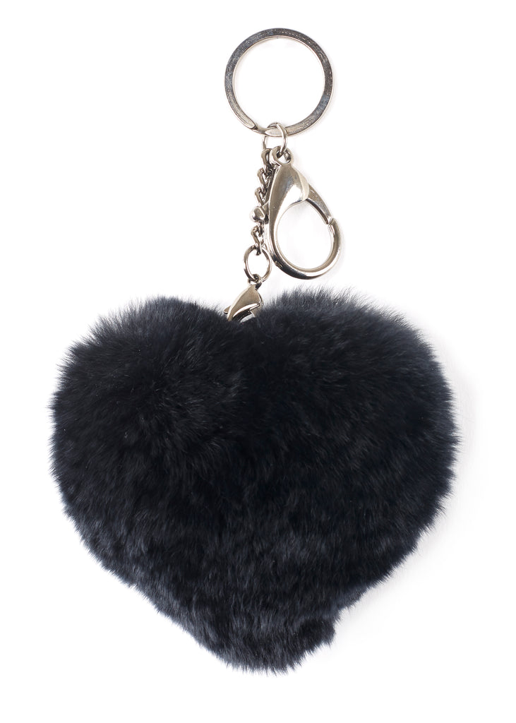 Black Heart Rabbit Fur Keychain | Jessimara London