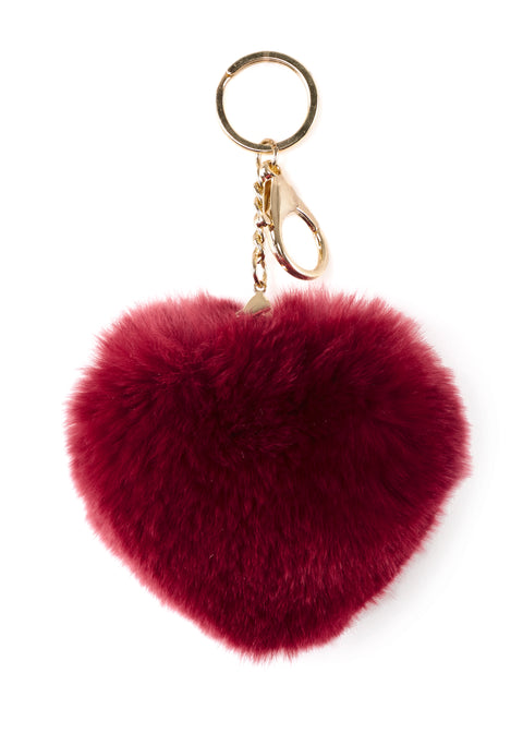 Burgundy Heart Rabbit Fur Keychain | Jessimara London