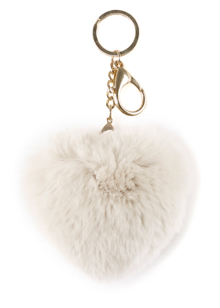 Cream Heart Rabbit Fur Keychain | Jessimara London