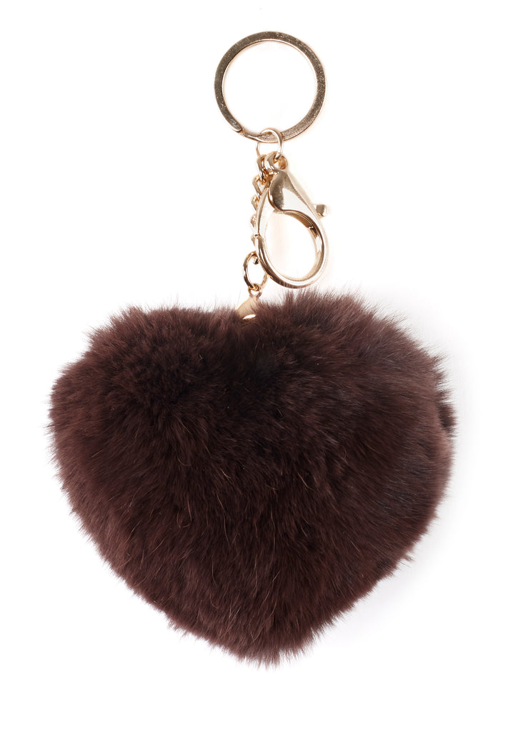 Dark Brown Heart Rabbit Fur Keychain
