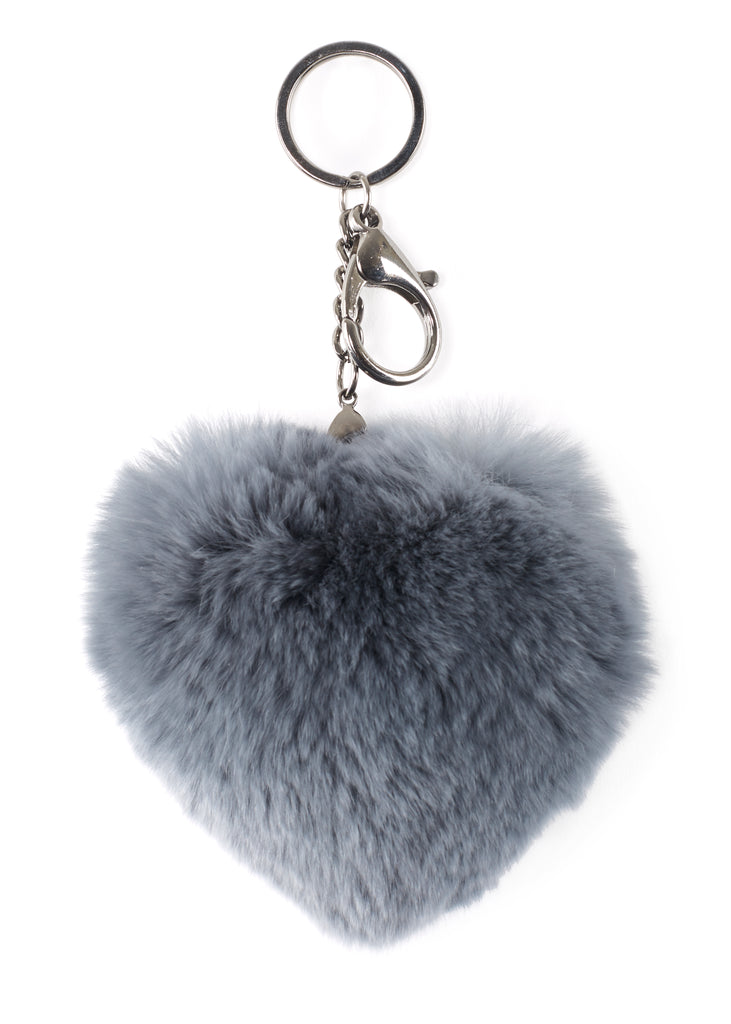 Dark Grey Heart Rabbit Fur Keychain