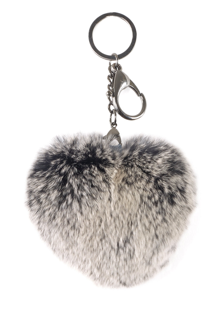 Black Snowtop Heart Rabbit Fur Keychain | Jessimara London
