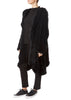 Black Long Hooded Asymmetric Knitted Rex Rabbit Jacket