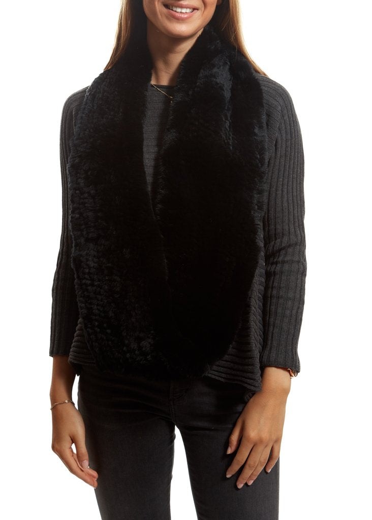 Black Knitted Rabbit Double Snood With Fur Trim | Jessimara London