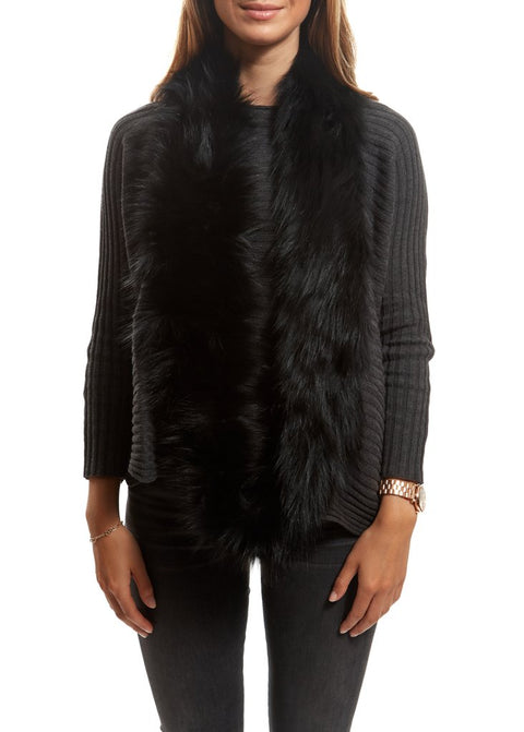 Black Knitted Fox Fur Double Snood With Fur Trim