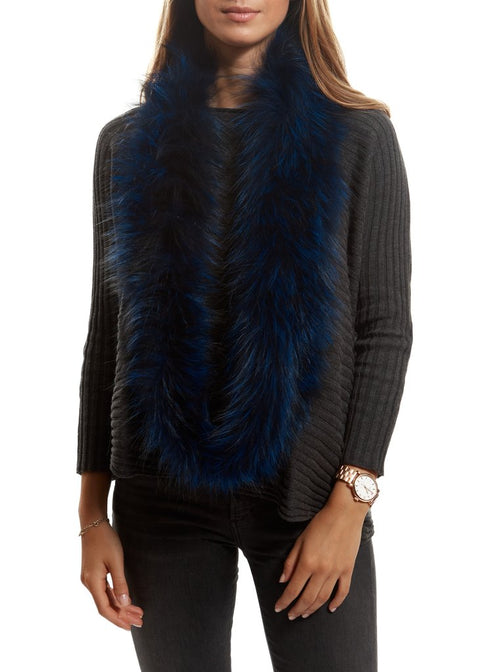 Navy Blue Knitted Fox Fur Double Snood With Fur Trim