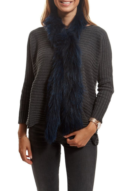 Navy Blue Fox Open Luxury Fur Scarf | Jessimara London