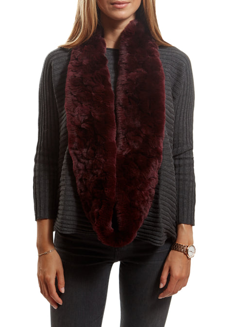 Burgundy Criss Cross Double Snood With Fur Trim | Jessimara London